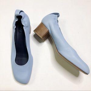 Rag & Bone Chambray Blue Leather Block Heel Pumps